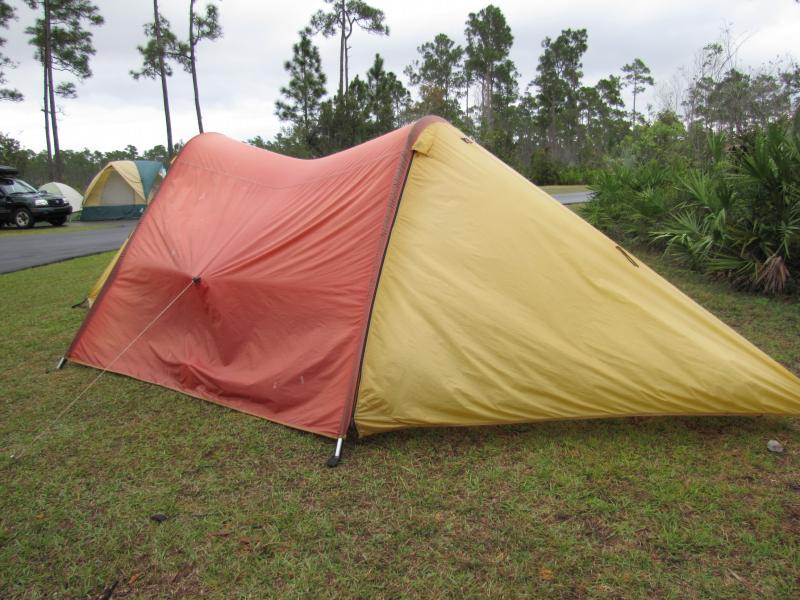 Camping in the Everglades in a wedding present from 1980: same wife, same tent